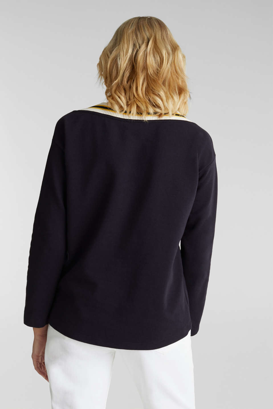 Sweatshirt with striped cuffs, NAVY, detail image number 3