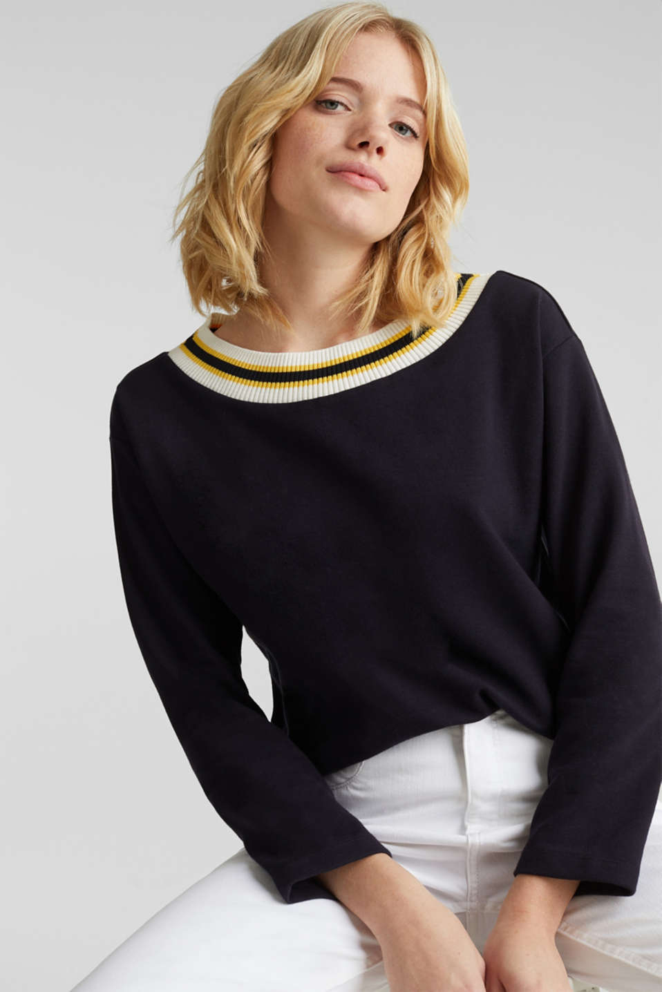 Sweatshirt with striped cuffs, NAVY, detail image number 5