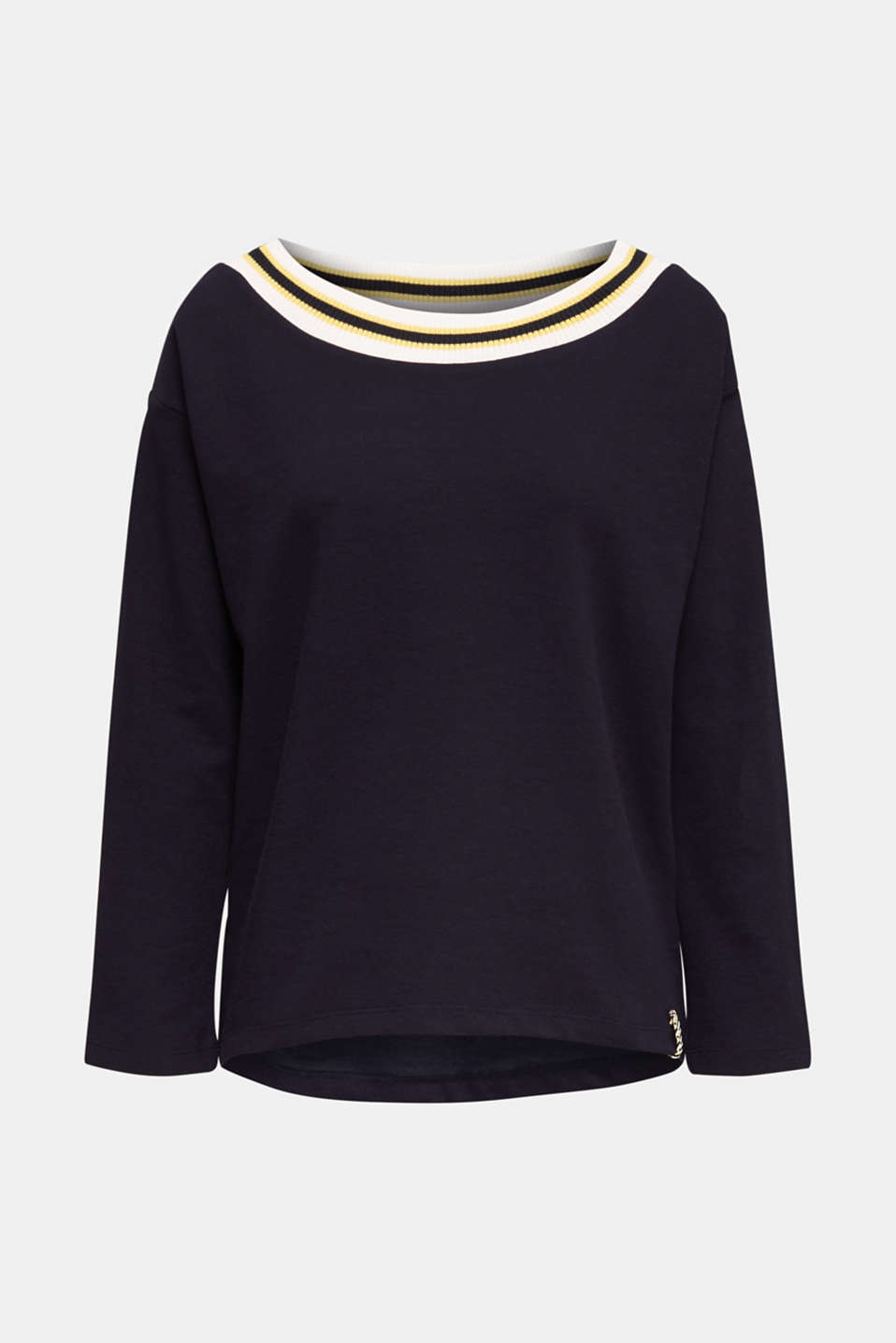 Sweatshirt with striped cuffs, NAVY, detail image number 6