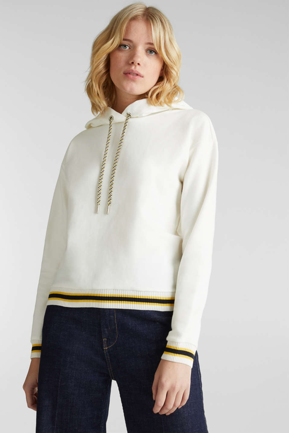 Boxy hoodie with striped cuffs, OFF WHITE, detail image number 0