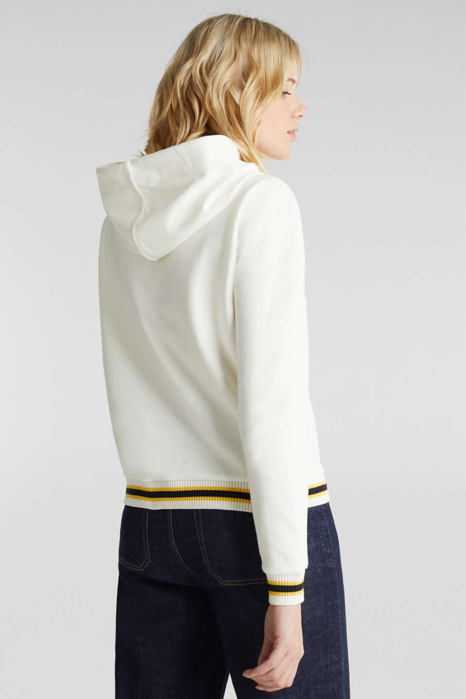 Boxy hoodie with striped cuffs, OFF WHITE, detail image number 3