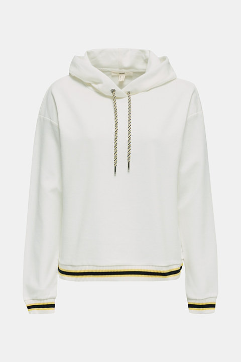 Boxy hoodie with striped cuffs