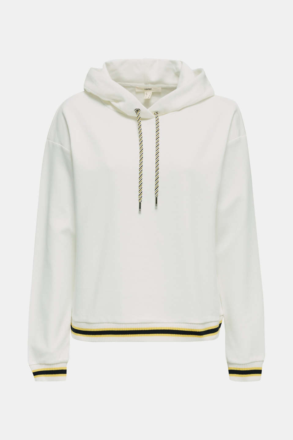 Boxy hoodie with striped cuffs, OFF WHITE, detail image number 6