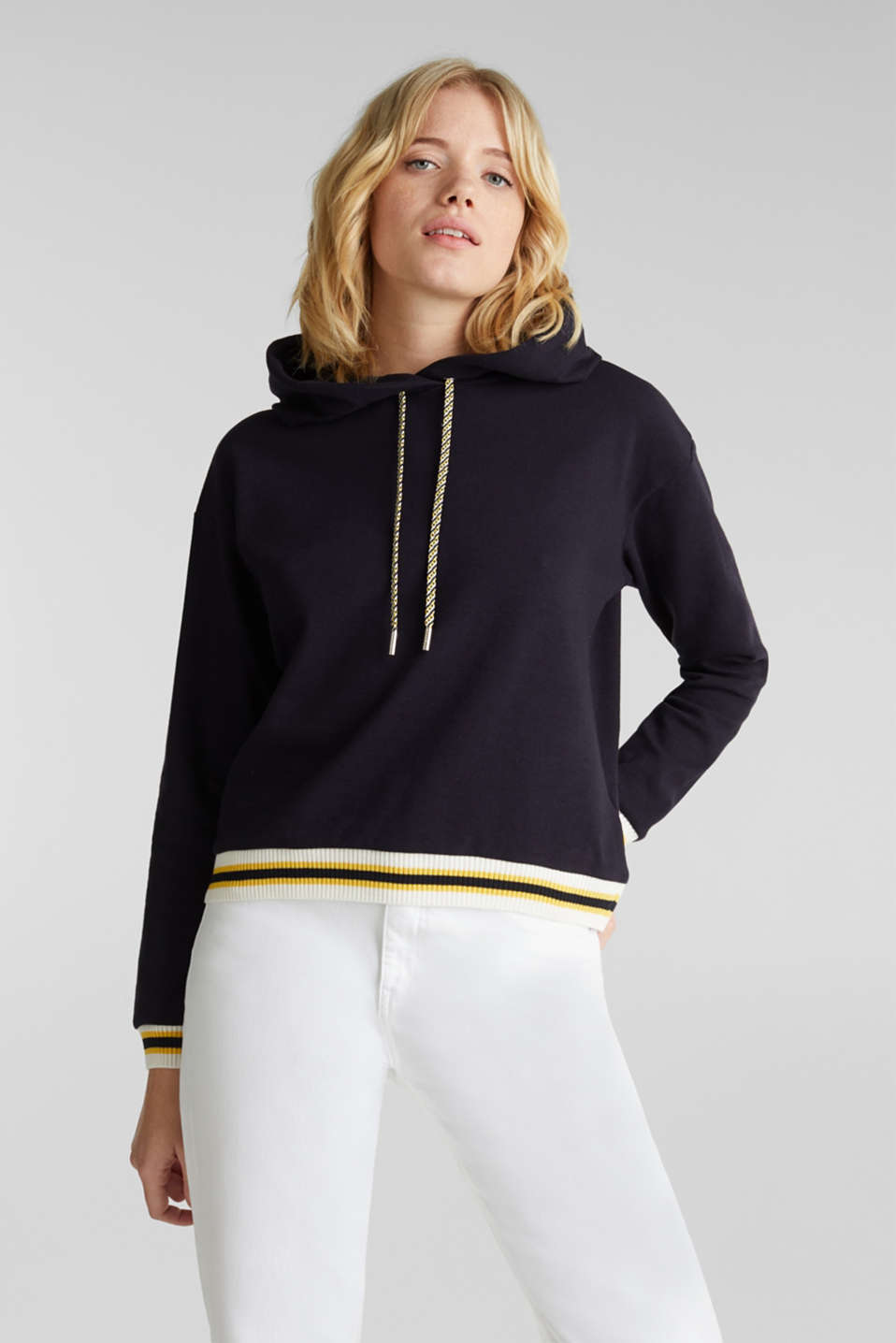 Boxy hoodie with striped cuffs, NAVY, detail image number 0