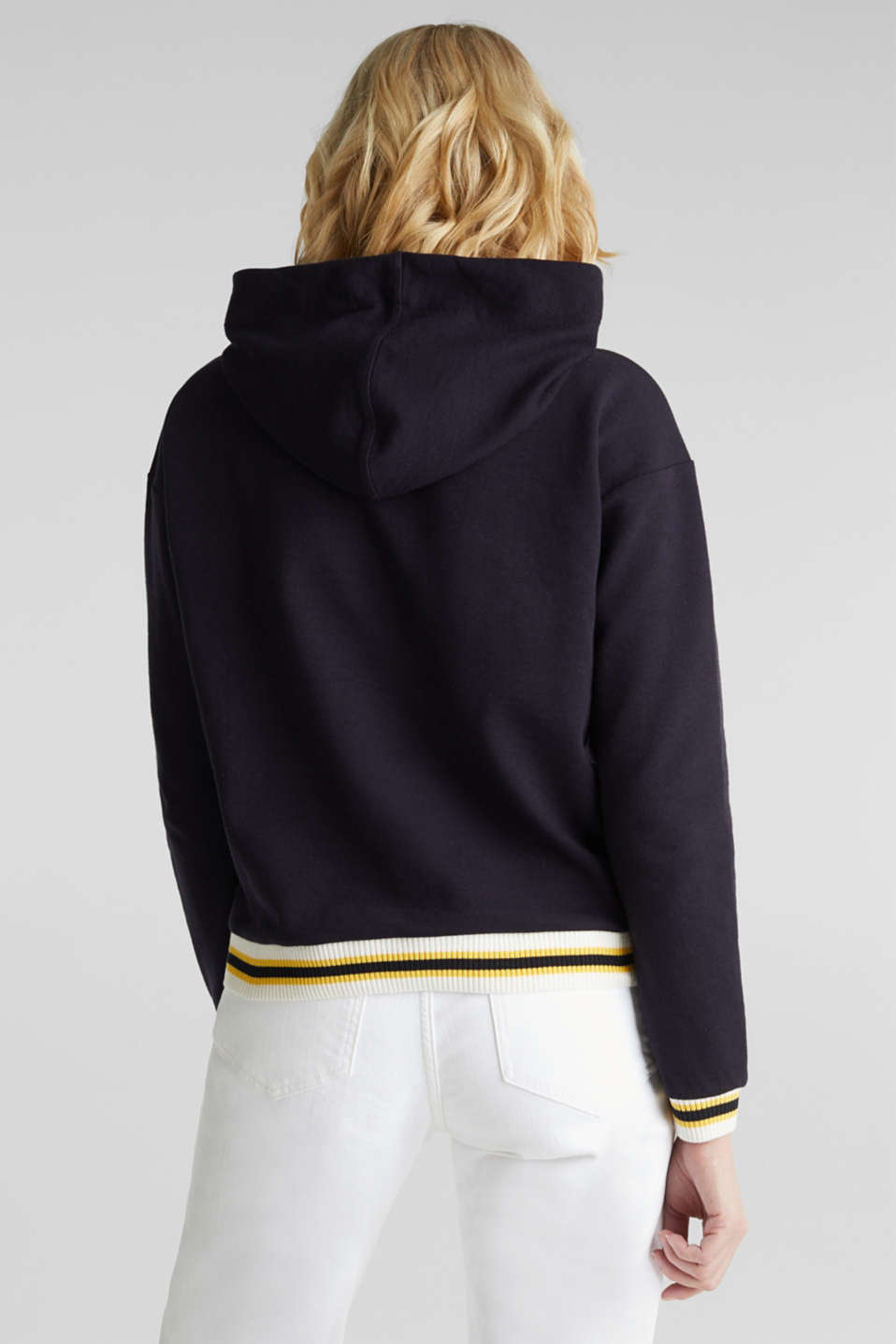 Boxy hoodie with striped cuffs, NAVY, detail image number 3