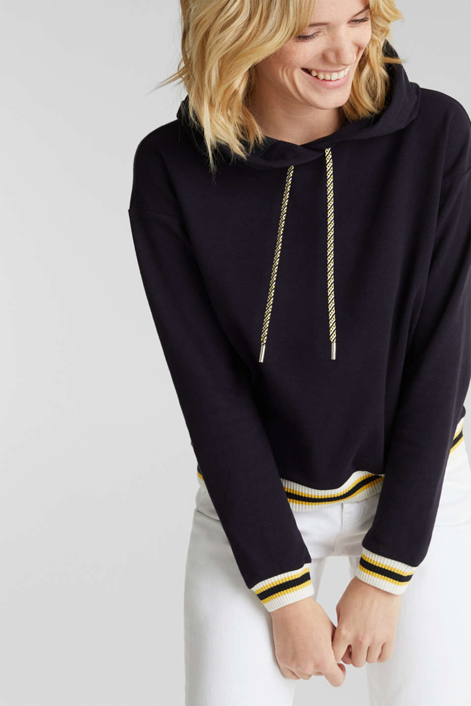 Boxy hoodie with striped cuffs, NAVY, detail image number 5