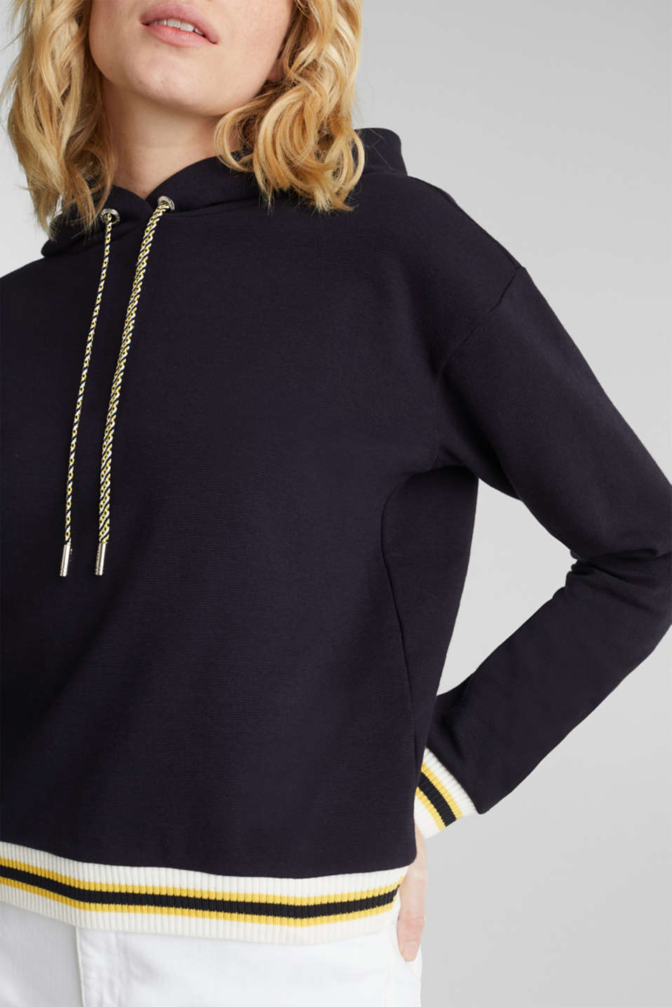 Boxy hoodie with striped cuffs, NAVY, detail image number 2