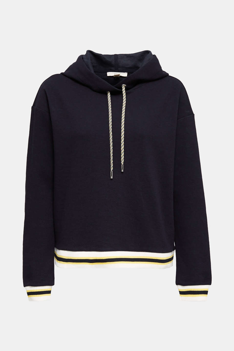 Boxy hoodie with striped cuffs, NAVY, detail image number 6