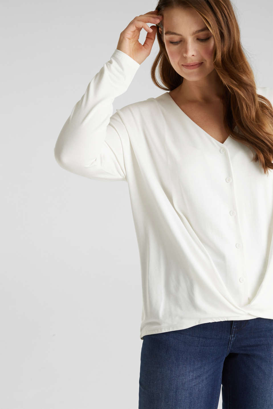 CURVY long sleeve top with a button placket and a wrap-around effect, OFF WHITE, detail image number 0