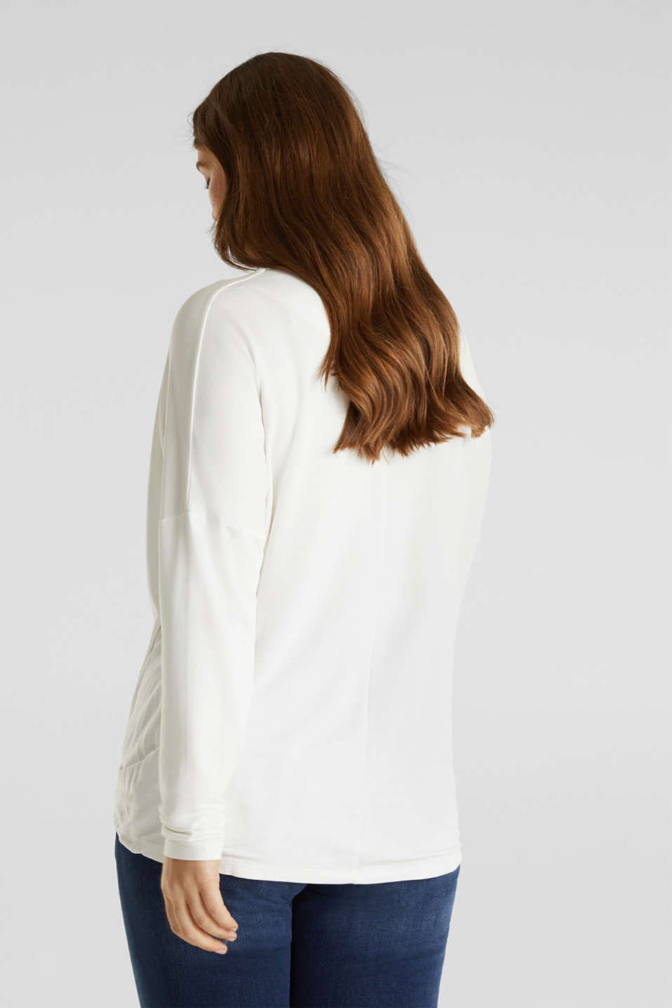 CURVY long sleeve top with a button placket and a wrap-around effect, OFF WHITE, detail image number 3