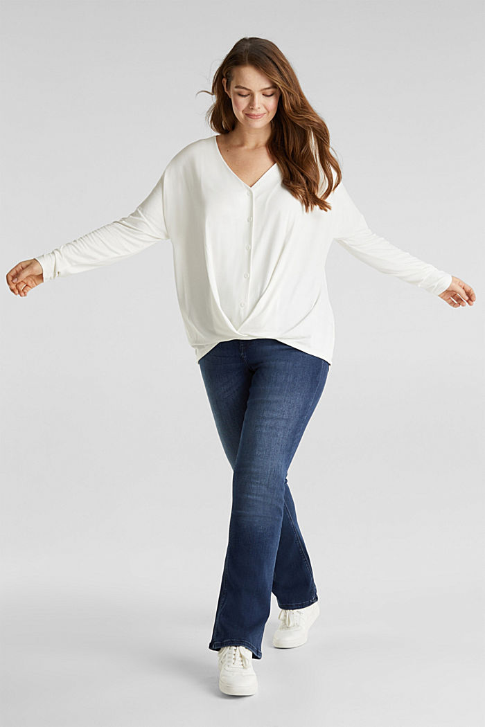 CURVY long sleeve top with a wrap effect, OFF WHITE, detail image number 1