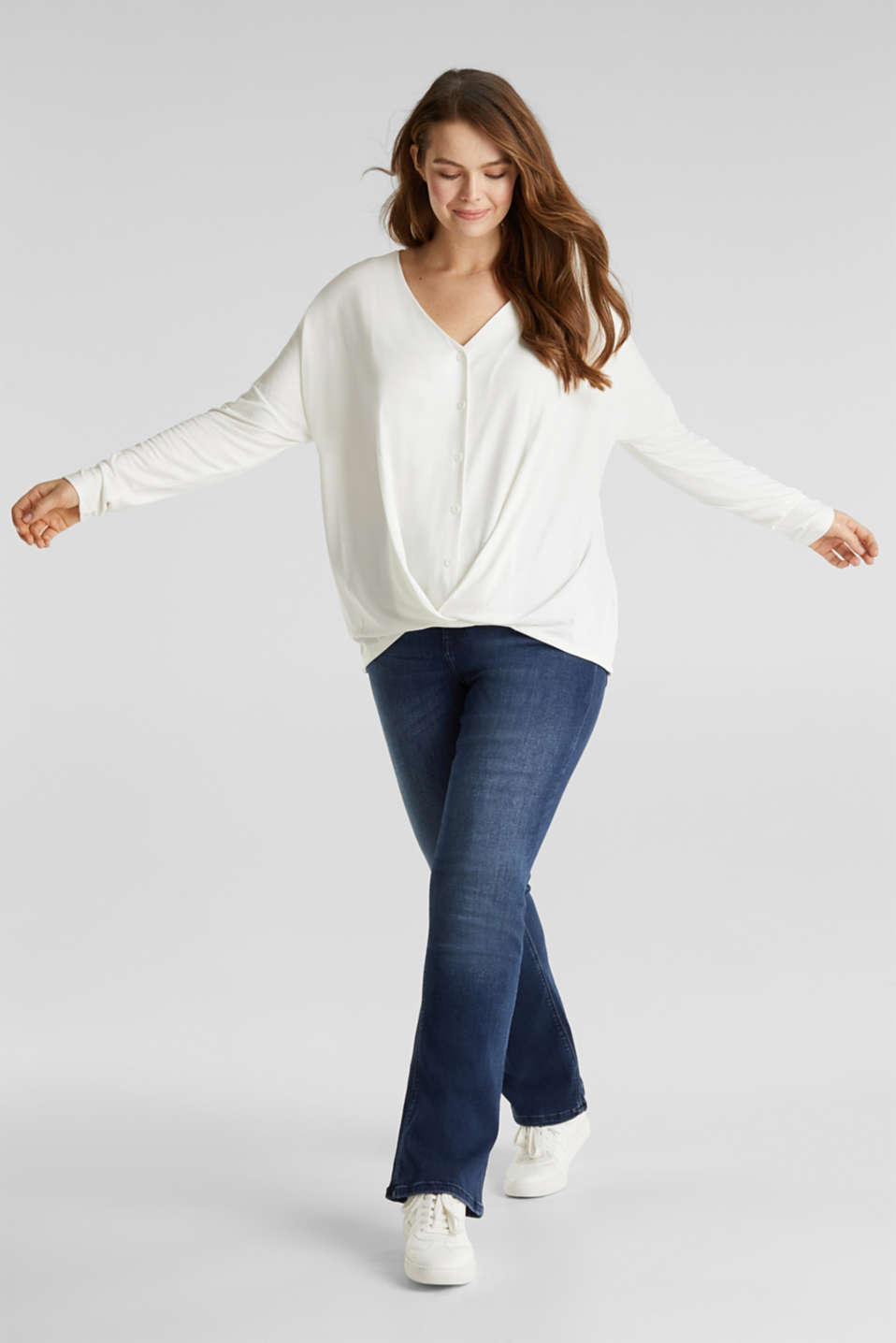 CURVY long sleeve top with a button placket and a wrap-around effect, OFF WHITE, detail image number 1