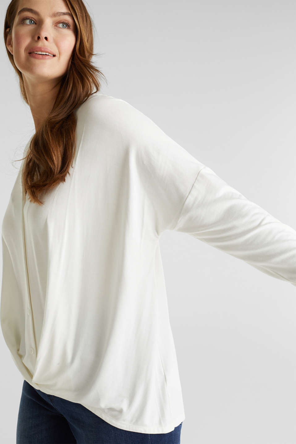 CURVY long sleeve top with a button placket and a wrap-around effect, OFF WHITE, detail image number 2