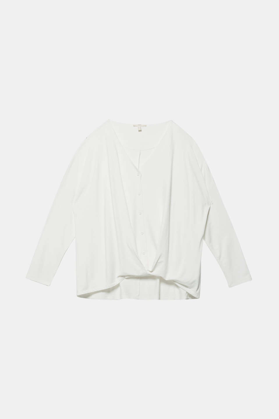 CURVY long sleeve top with a button placket and a wrap-around effect, OFF WHITE, detail image number 5