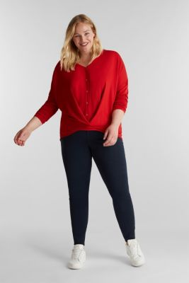 CURVY long sleeve top with a wrap effect, DARK RED, detail