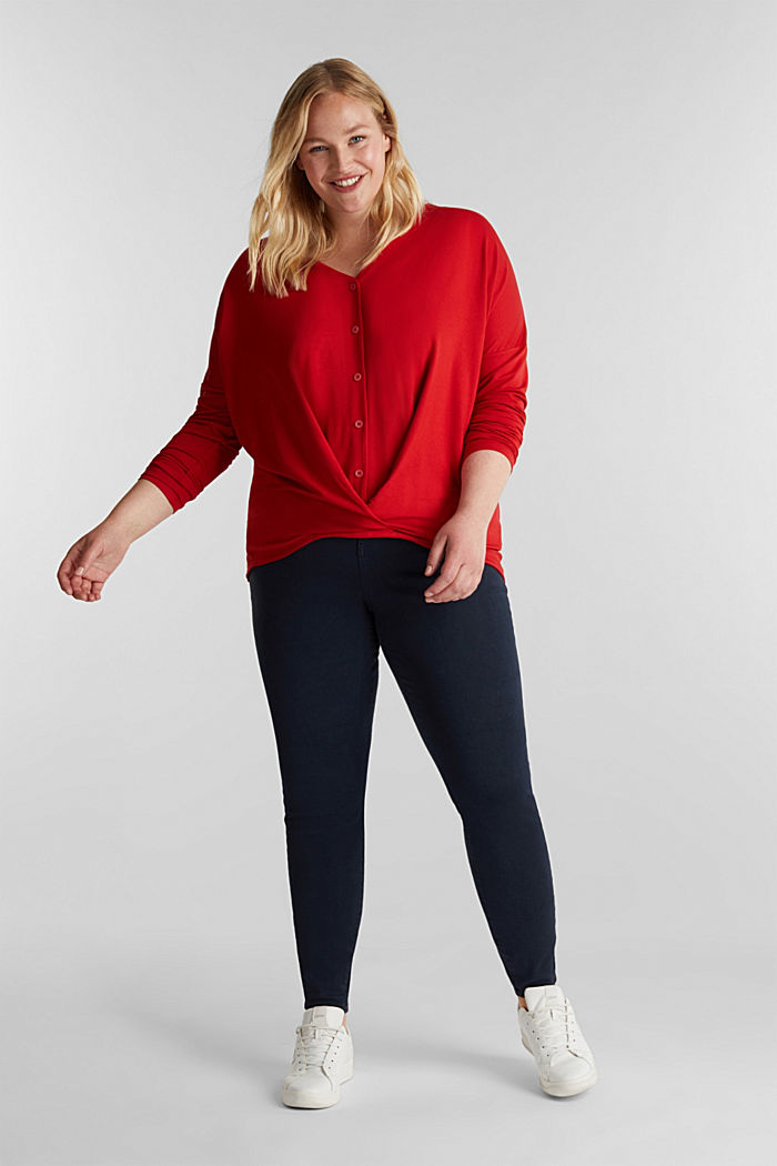 CURVY long sleeve top with a wrap effect, DARK RED, detail image number 1