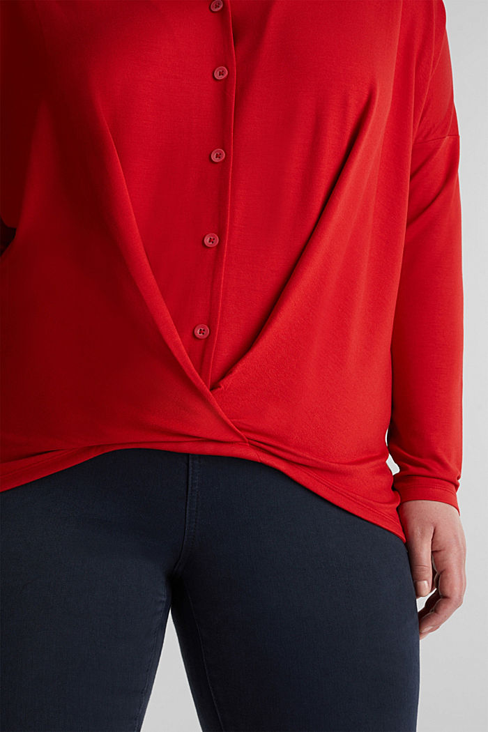 CURVY long sleeve top with a wrap effect, DARK RED, detail image number 2