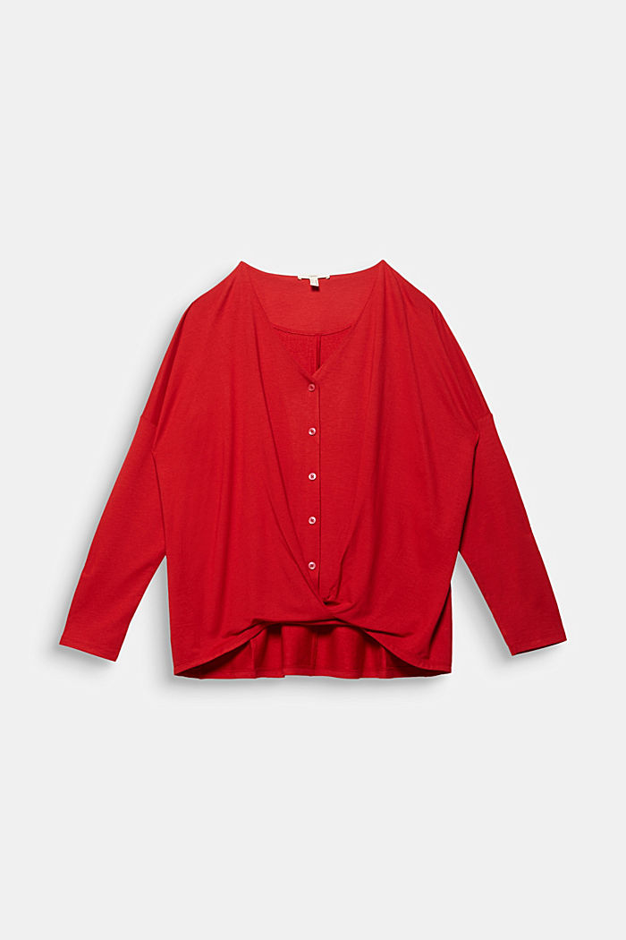 CURVY long sleeve top with a wrap effect, DARK RED, detail image number 5