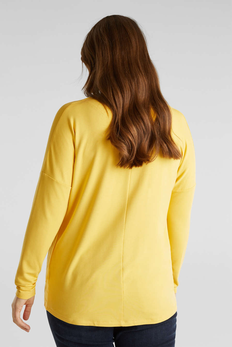 CURVY long sleeve top with a button placket and a wrap-around effect, YELLOW 3, detail image number 3