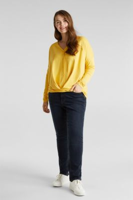 CURVY long sleeve top with a button placket and a wrap-around effect, YELLOW 3, detail