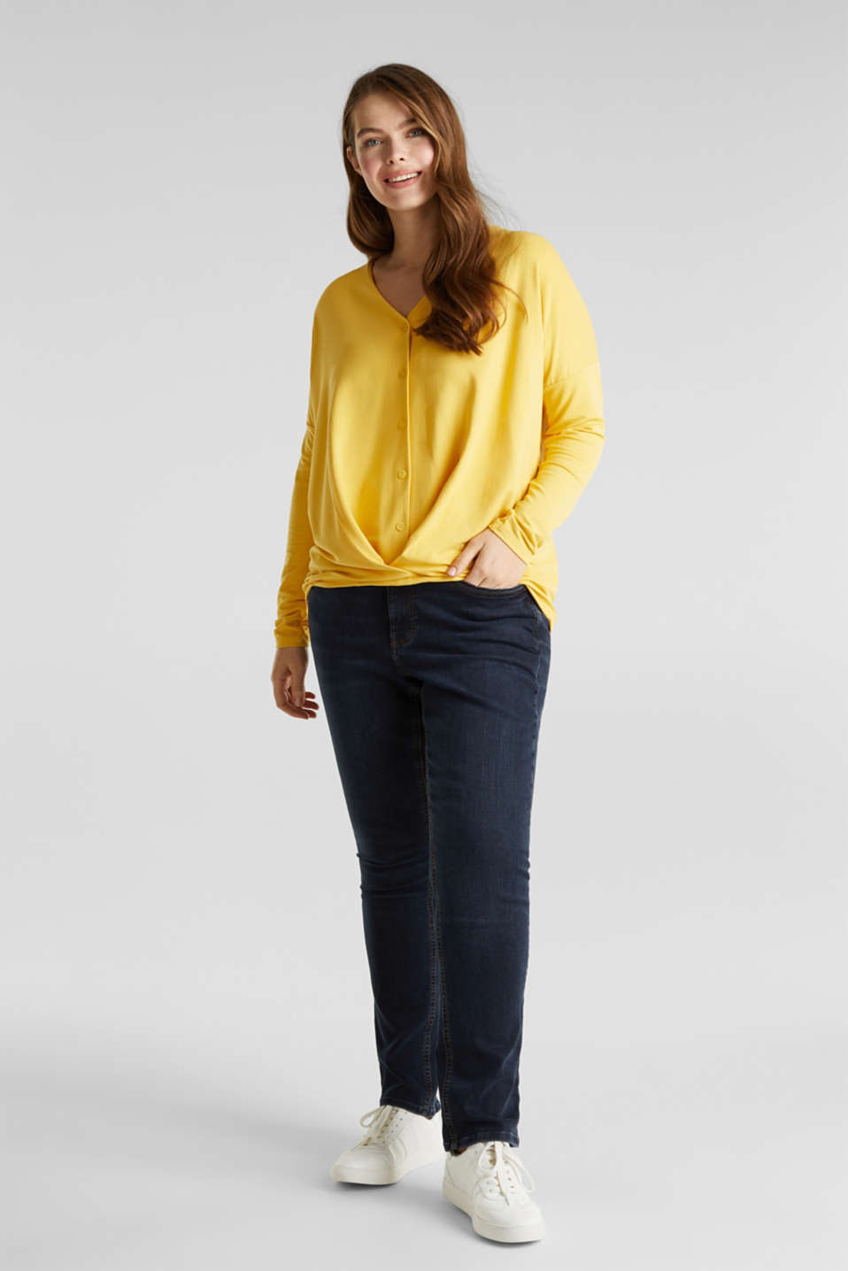 CURVY long sleeve top with a button placket and a wrap-around effect, YELLOW 3, detail image number 1