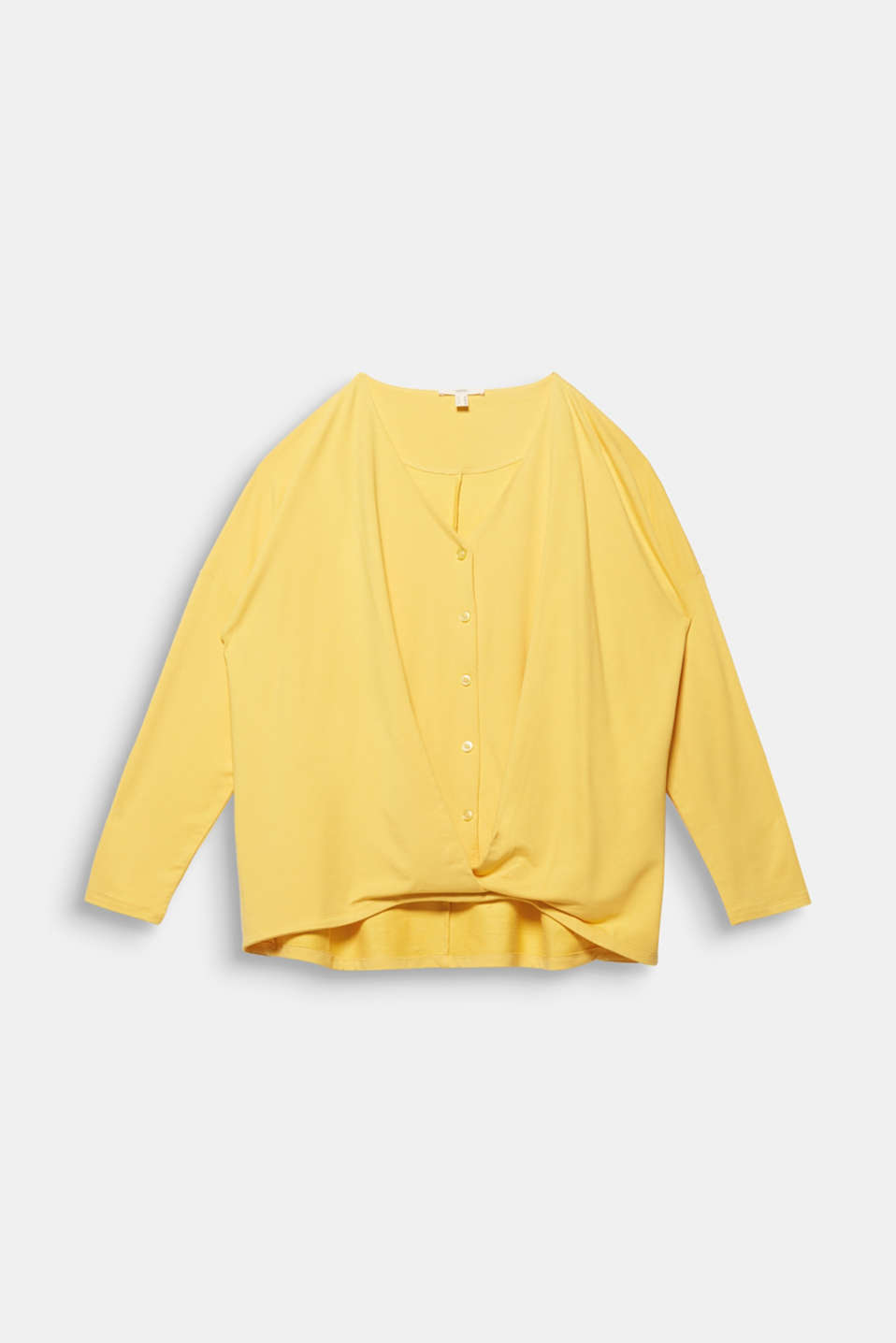 CURVY long sleeve top with a button placket and a wrap-around effect, YELLOW 3, detail image number 6