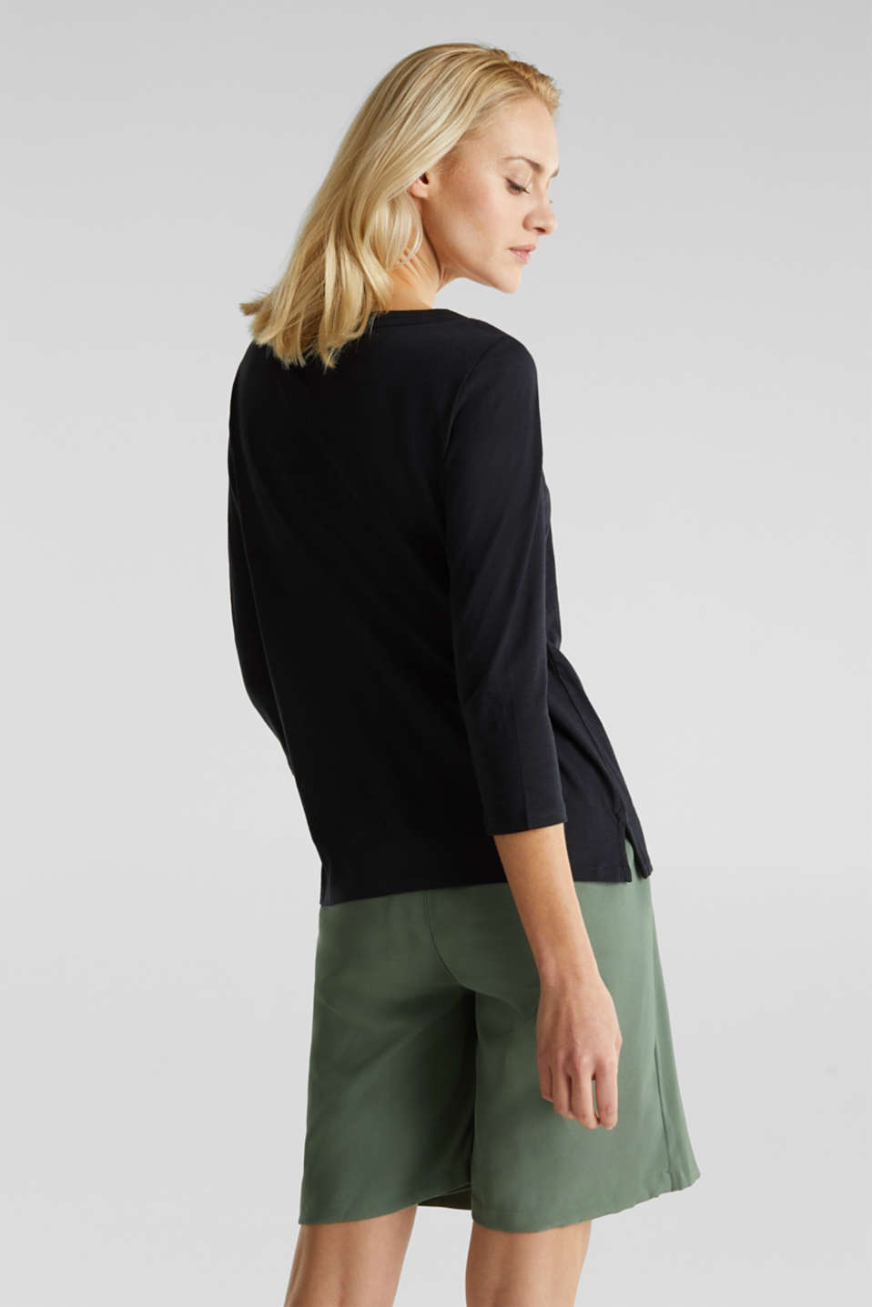 Slub top with 3/4-length sleeves, 100% cotton, BLACK, detail image number 2