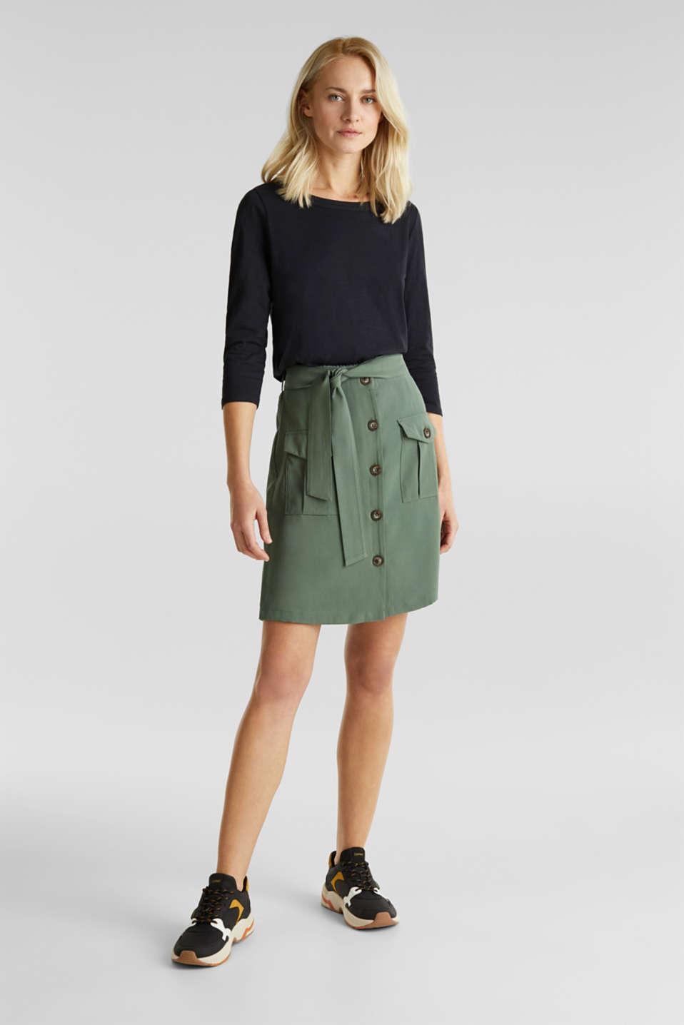 Slub top with 3/4-length sleeves, 100% cotton, BLACK, detail image number 1