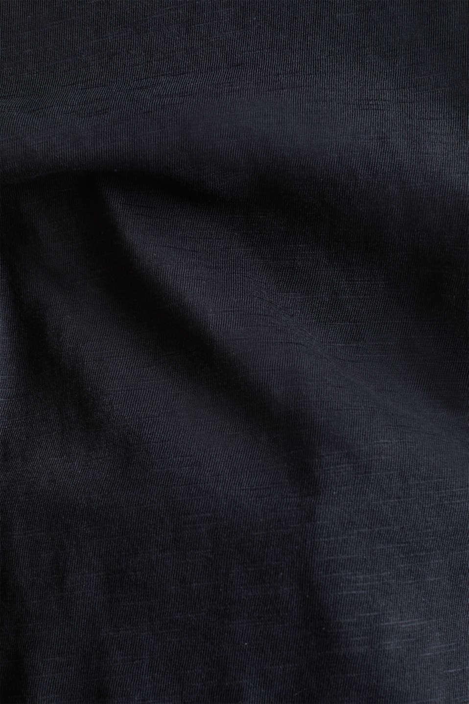 Slub top with 3/4-length sleeves, 100% cotton, BLACK, detail image number 3