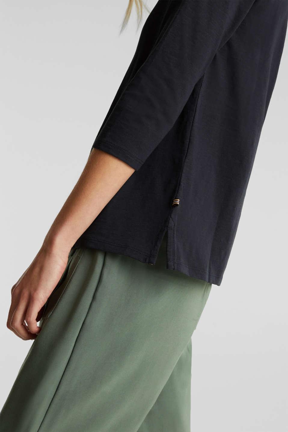 Slub top with 3/4-length sleeves, 100% cotton, BLACK, detail image number 4