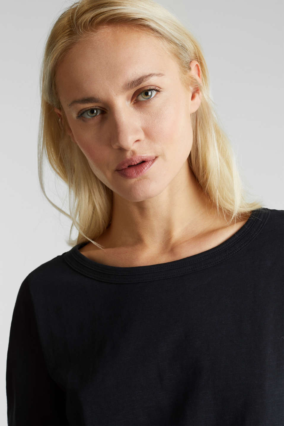 Slub top with 3/4-length sleeves, 100% cotton, BLACK, detail image number 5