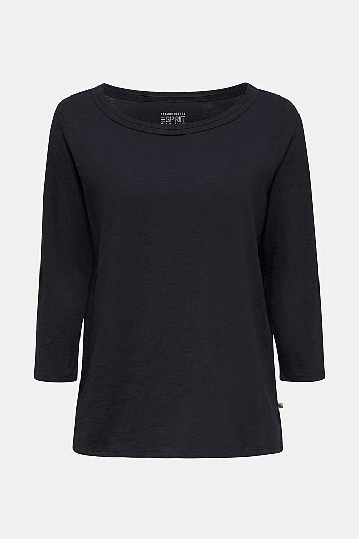 Slub-Shirt mit 3/4-Ärmeln, 100% Baumwolle