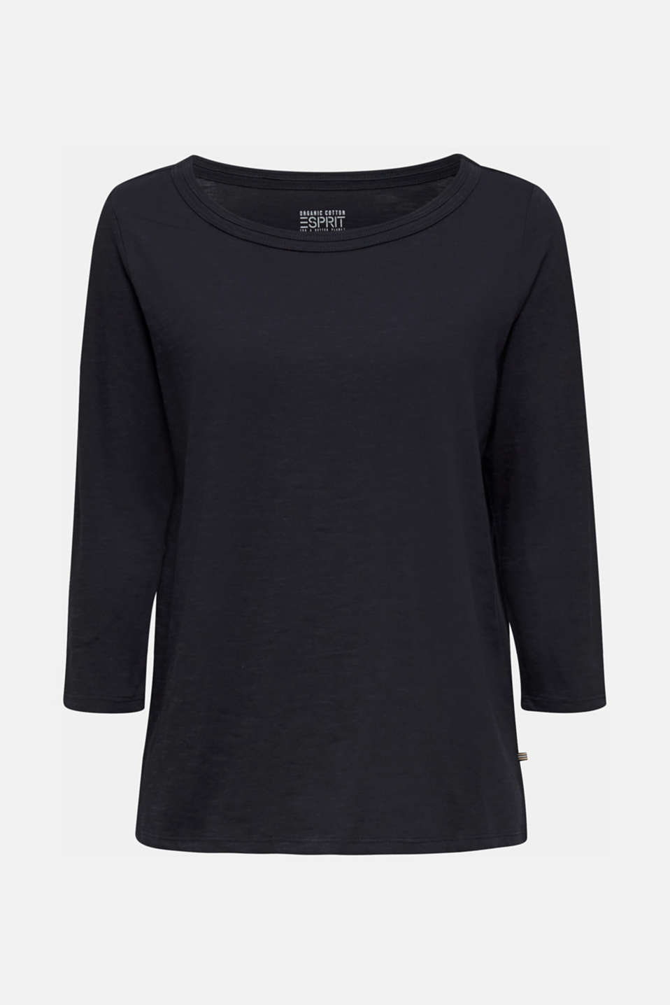 Slub top with 3/4-length sleeves, 100% cotton, BLACK, detail image number 6