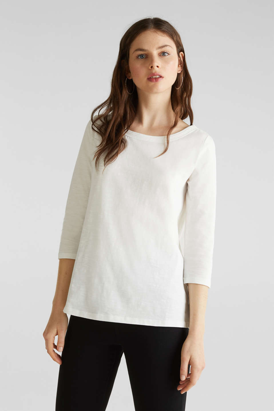Slub top with 3/4-length sleeves, 100% cotton, OFF WHITE, detail image number 0