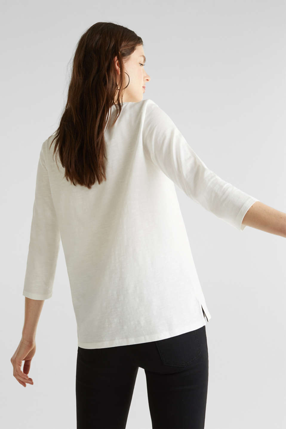 Slub top with 3/4-length sleeves, 100% cotton, OFF WHITE, detail image number 2