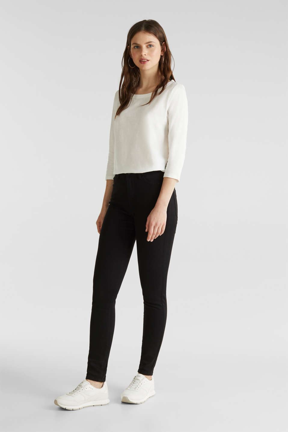 Slub top with 3/4-length sleeves, 100% cotton, OFF WHITE, detail image number 1