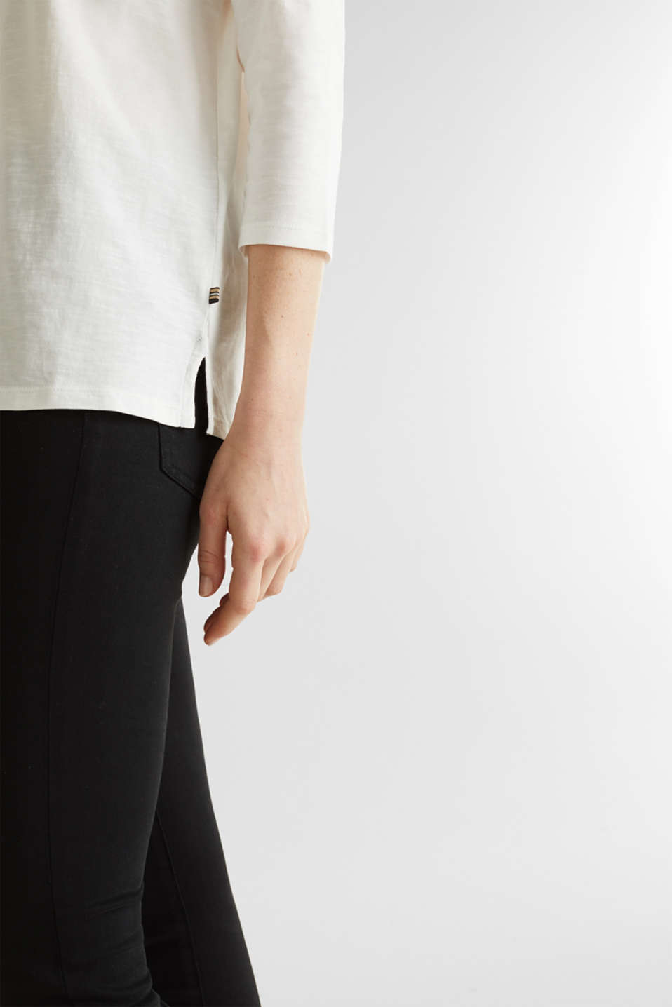 Slub top with 3/4-length sleeves, 100% cotton, OFF WHITE, detail image number 4