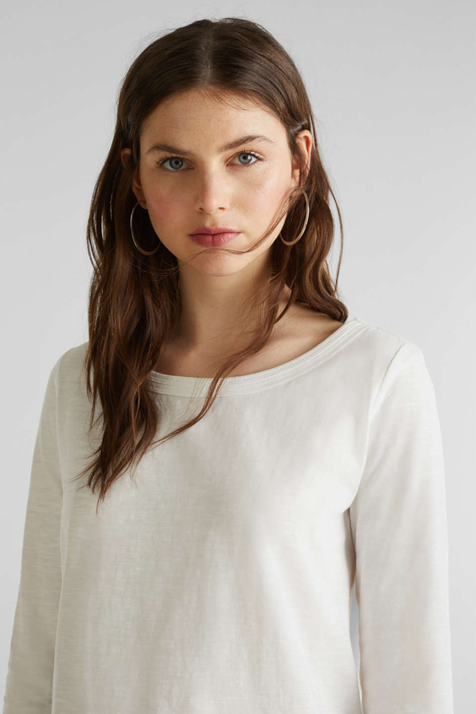 Slub top with 3/4-length sleeves, 100% cotton, OFF WHITE, detail image number 5