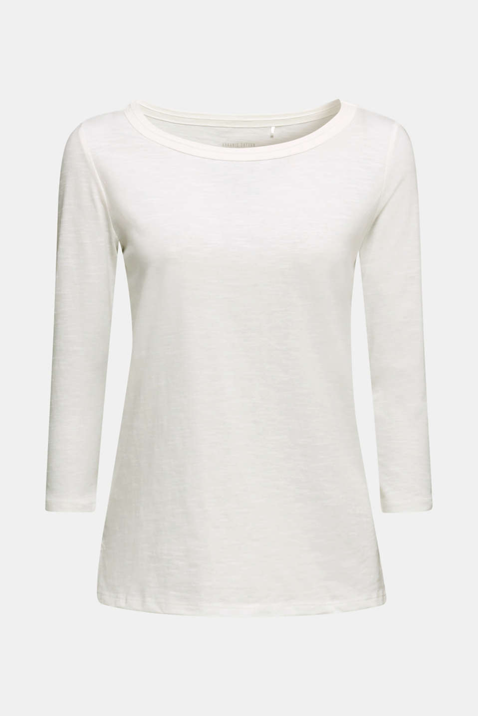 Slub top with 3/4-length sleeves, 100% cotton, OFF WHITE, detail image number 6