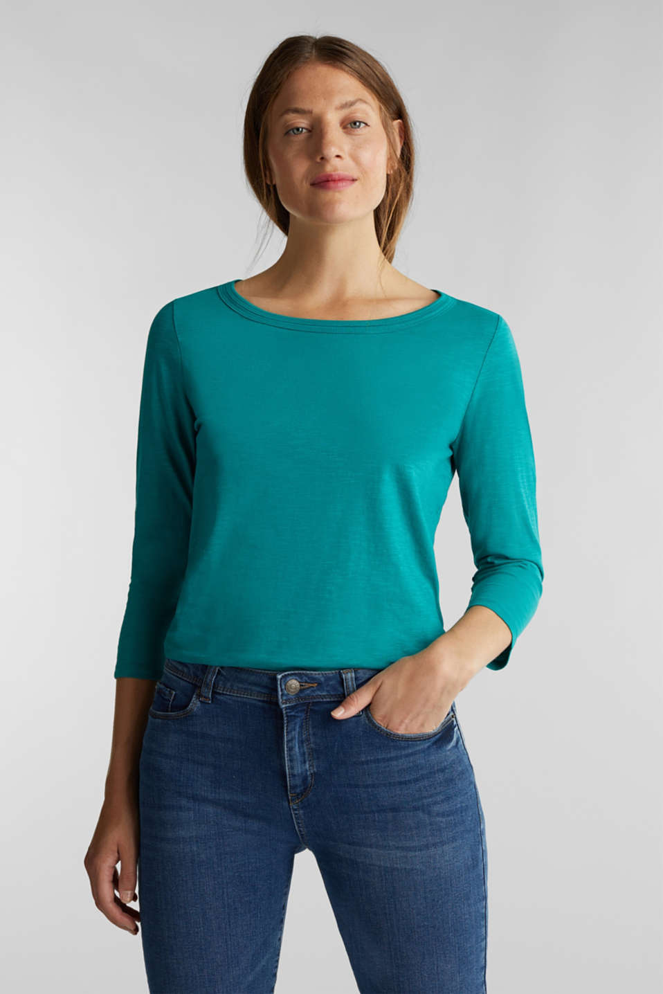 Esprit - Slub top with 3/4-length sleeves, 100% cotton