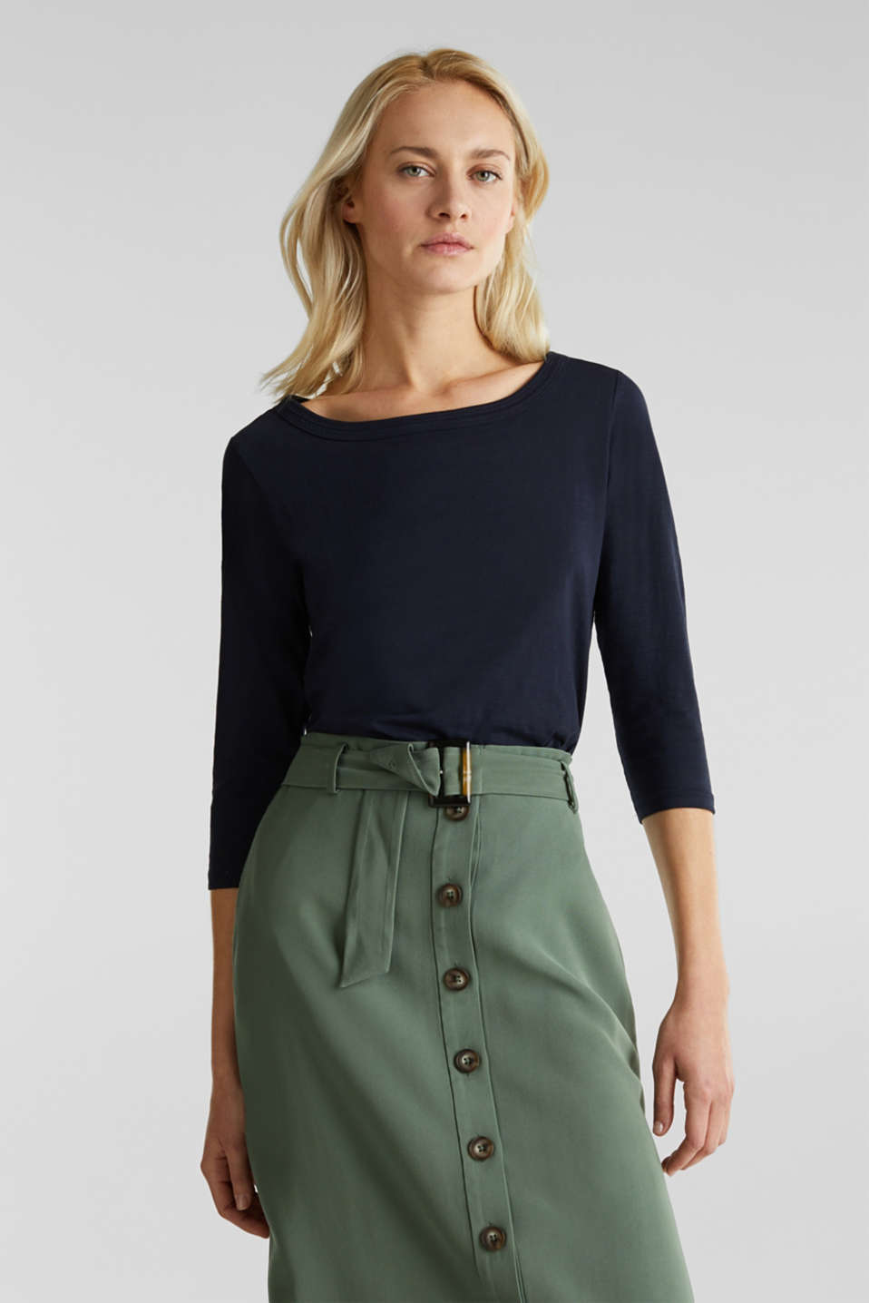 Slub top with 3/4-length sleeves, 100% cotton, NAVY, detail image number 0