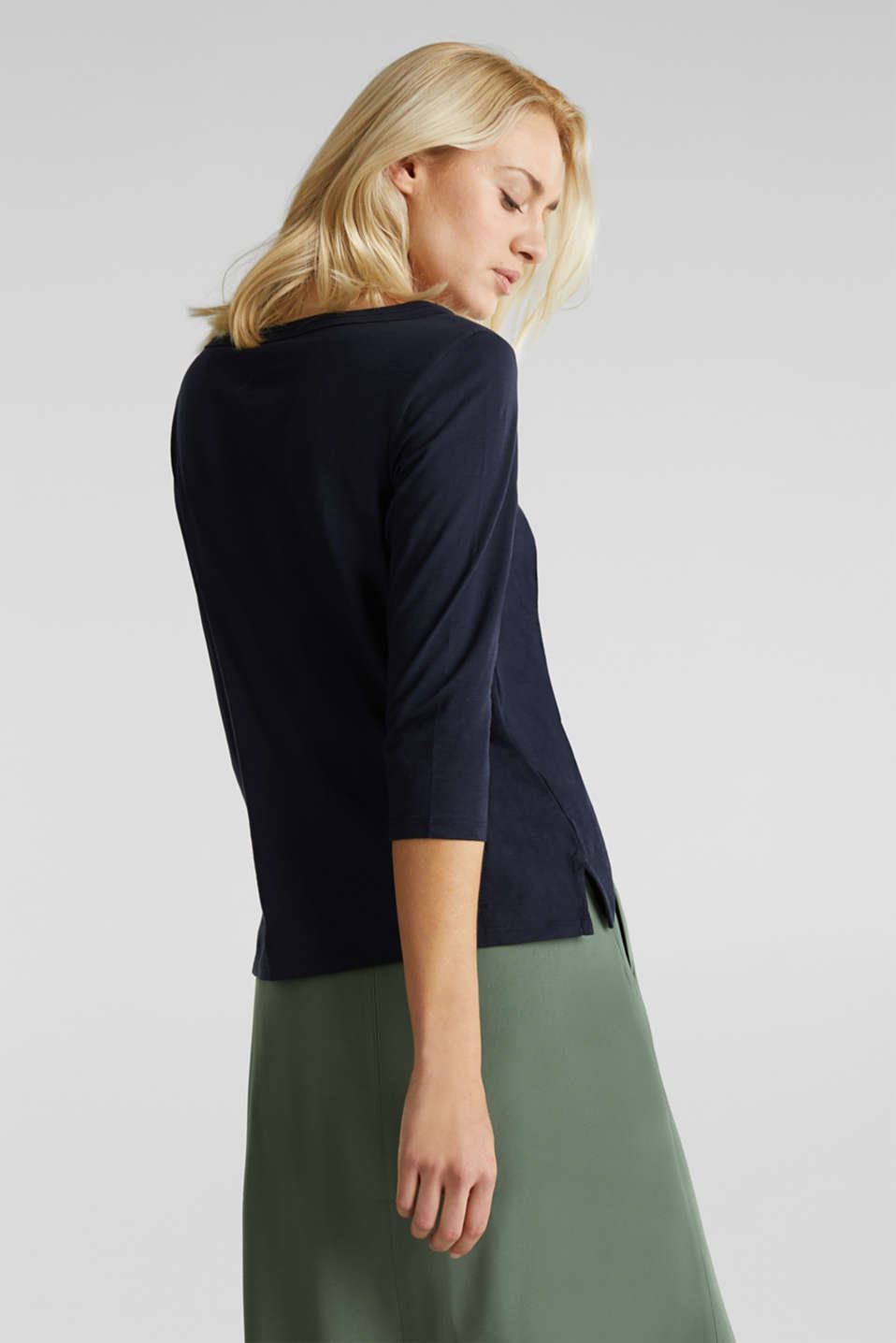 Slub top with 3/4-length sleeves, 100% cotton, NAVY, detail image number 2