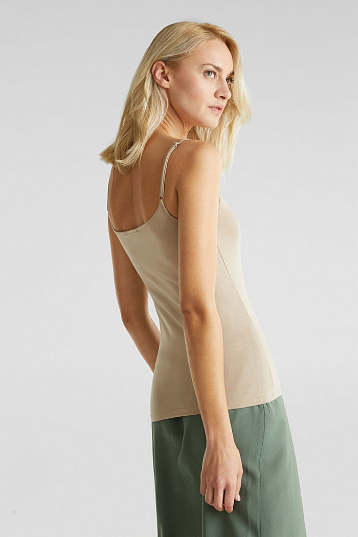Stretch jersey top with spaghetti straps, BEIGE, detail image number 3