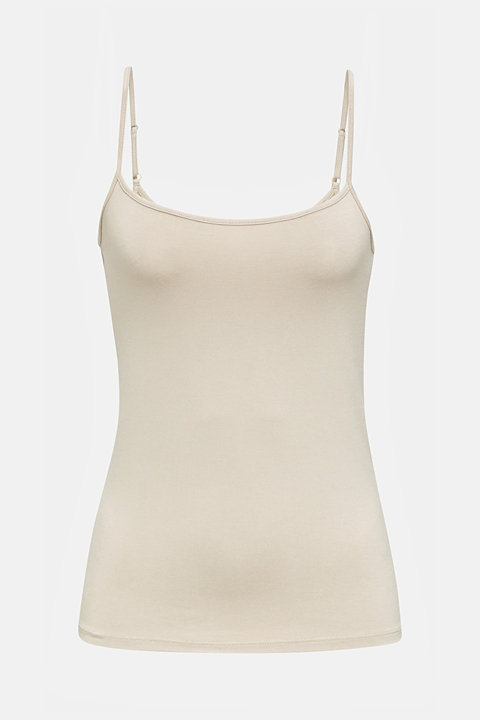Stretch jersey top with spaghetti straps