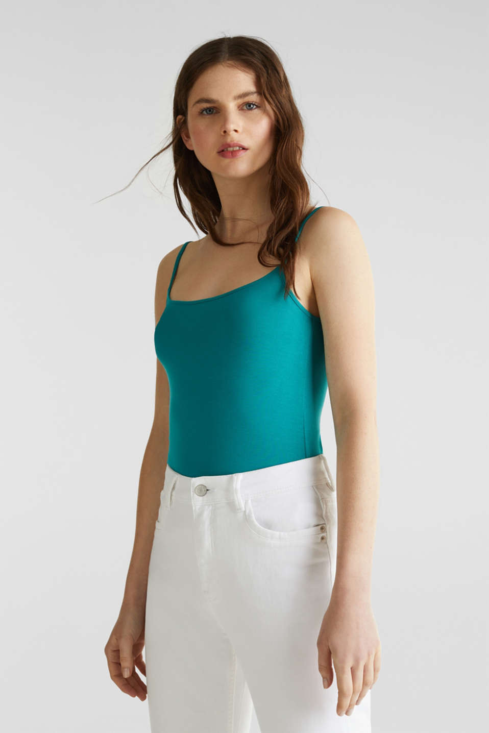 Stretch jersey top with spaghetti straps, TEAL GREEN 4, detail image number 0
