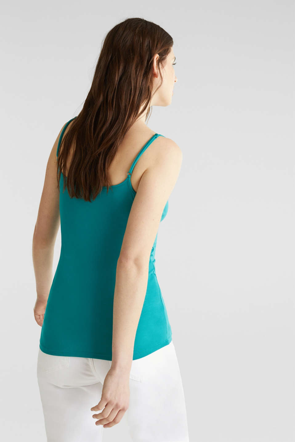 Stretch jersey top with spaghetti straps, TEAL GREEN 4, detail image number 2