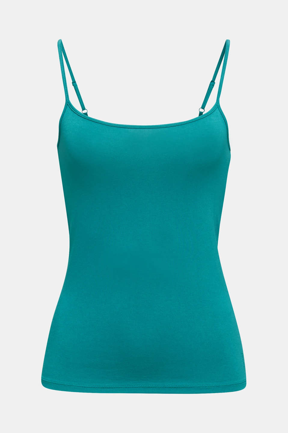 Stretch jersey top with spaghetti straps, TEAL GREEN 4, detail image number 5