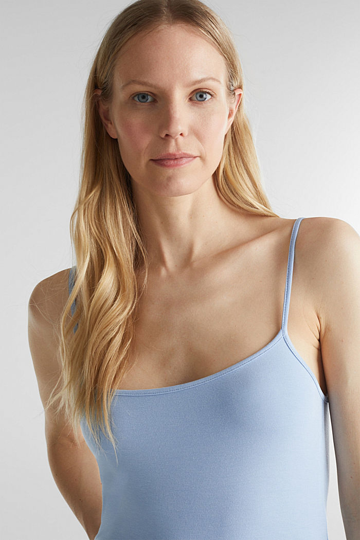 Stretch jersey top with spaghetti straps, LIGHT BLUE, detail image number 6