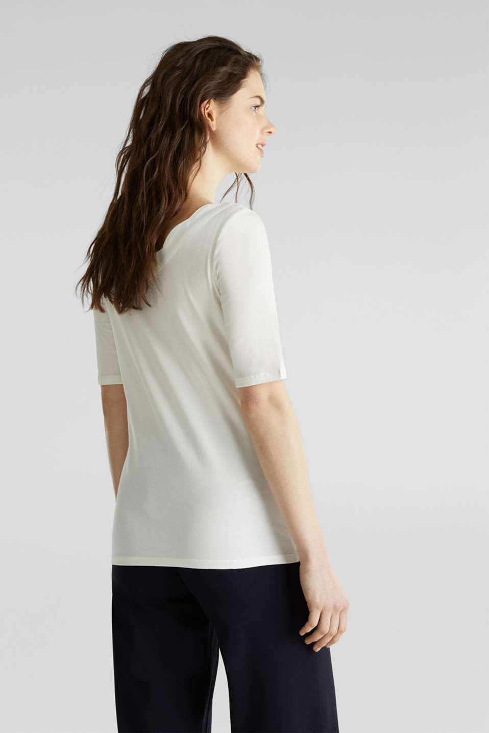 Stretch T-shirt with a scalloped trim, OFF WHITE, detail image number 3
