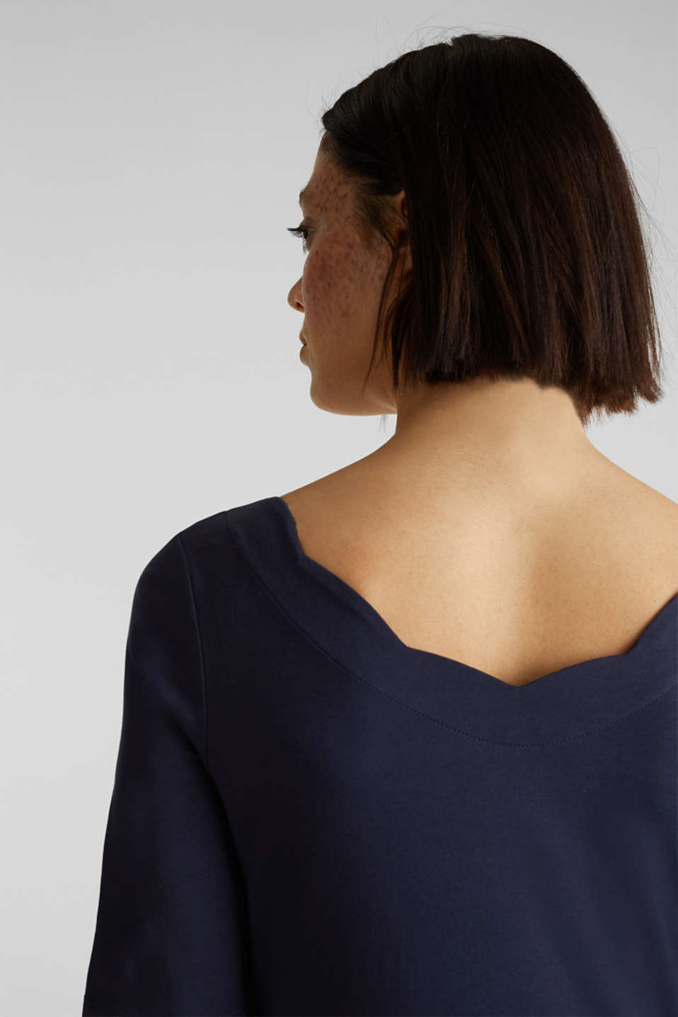 Stretch T-shirt with a scalloped trim, NAVY, detail image number 2